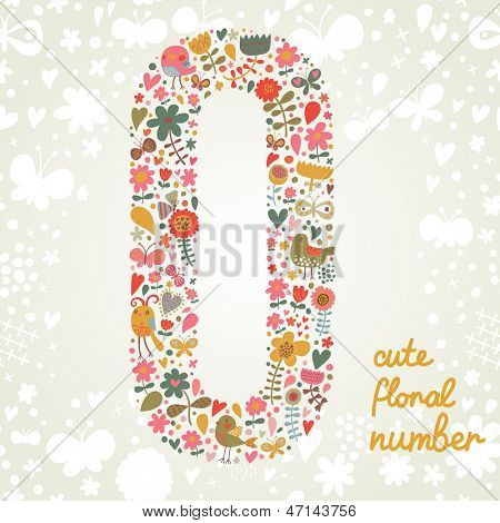 The number zero. Bright floral element of colorful alphabet made from birds, flowers, petals, hearts and twigs. Summer floral ABC element in vector