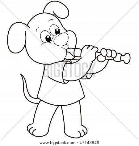 Cartoon Dog Playing An Oboe