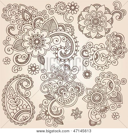 Henna Paisley Flowers Mehndi Tattoo Doodles Set- Abstract Floral Illustration Design Elements