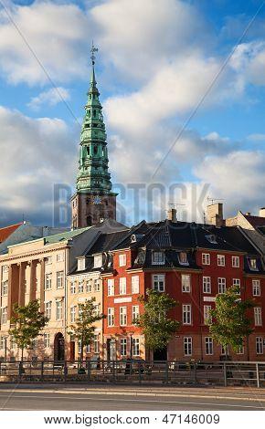 Sunset in the city of Copenhagen, Denmark