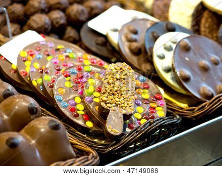 variety chocolate sweets on the Boqueria market in Spain