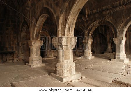 Colonnade Of Medieval Monastery