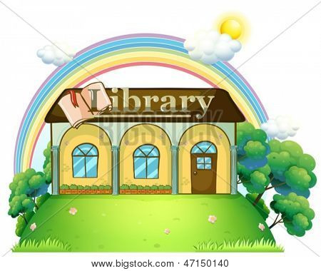 Illustration of a library at the top of the hill on a white background