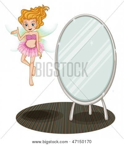 Illustration of a fairy beside a mirror on a white background