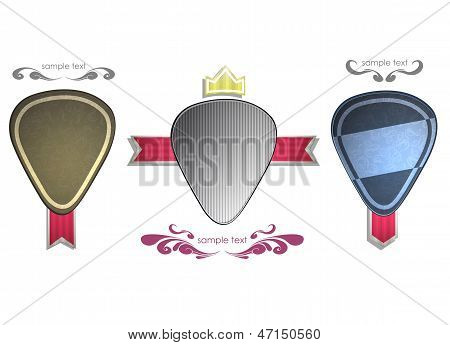 Plectrums Labels On White Background. Vector Design.