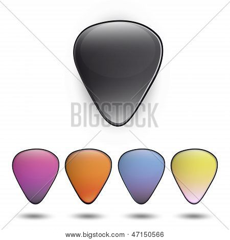 Colorful Plectrums On White Background. Vector Design.