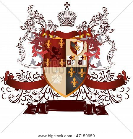 Classic Heraldic Design With Coat Of Arms And Shield In Vintage Style
