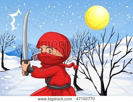 Ilustración de un ninja rojo en la nieve