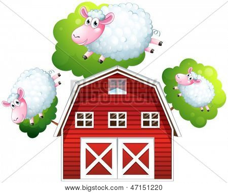 Illustration of the three jumping sheeps on a white background