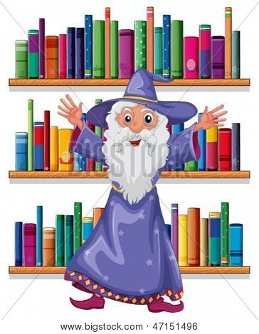 Illustration of a wizard in the library on a white background