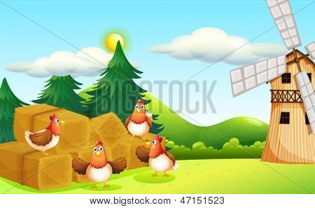 Illustration of the four chickens at the hay with a windmill