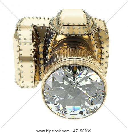golden camera with diamonds
