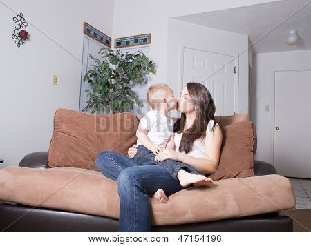 Mother and toddler playing at home