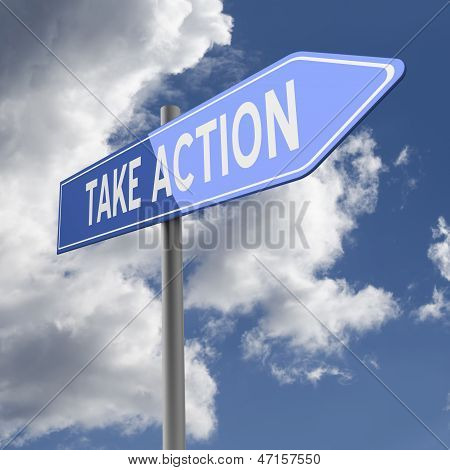 Take Action Words On Blue Road Sign