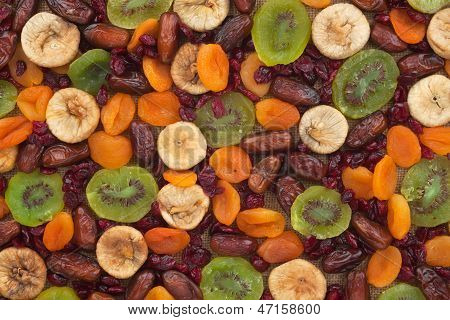 Dried Apricots, Kiwi, Figs, Dates, Cranberries On Sackcloth