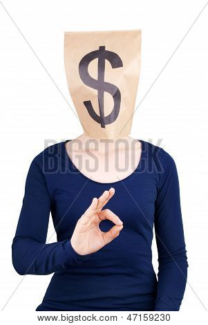 Paper Bag Head With Dollar Sign