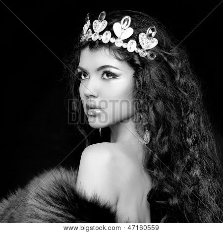 Luxury Portrait. Woman With Jewelry And Coronet. Black And White Photo