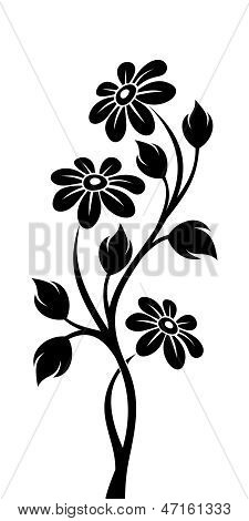 Black silhouette of branch with flowers. Vector illustration.