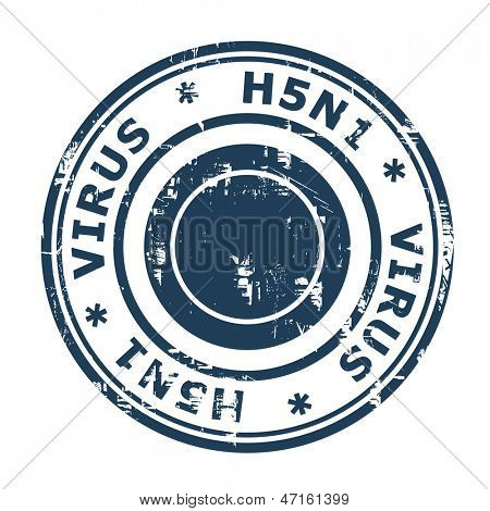H5N1 Virus Stamp, Avian Bird Influenza isolated on a white background.