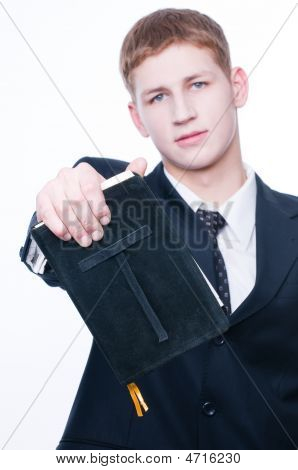 Young Man Showing Bible