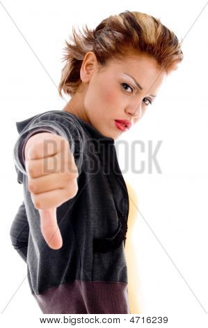 Unhappy Female Showing Thumbs Down