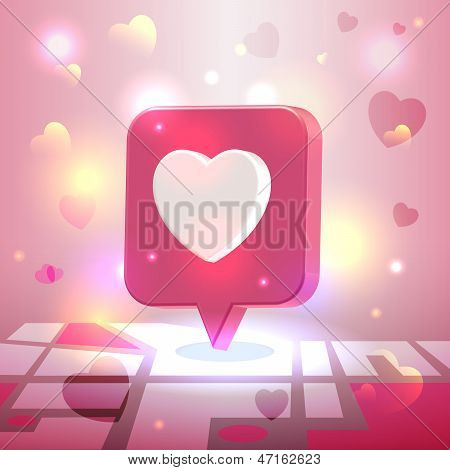 Liked Romantic Place Pin Icon Over City Block Map