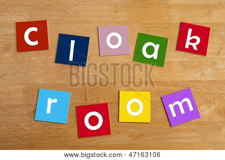 Cloak Room - Words Display For School Children.