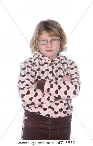 Cute Girl With Glasses And Arms Crossed In Attitude