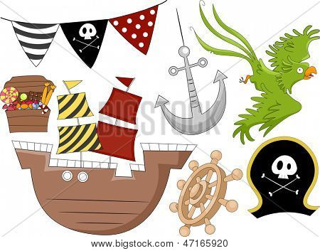 Illustration of Pirate Birthday Design Elements 2