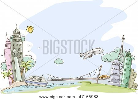Illustration of Travel Sketch Background
