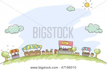 Illustration of Market Sketch Background