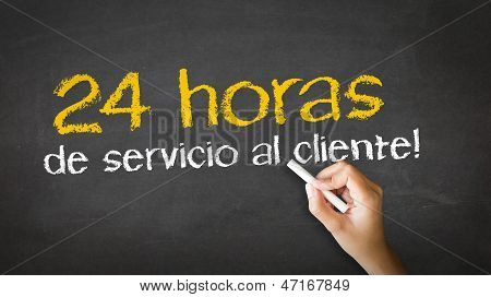 24 Hour Client Service Chalk Illustration