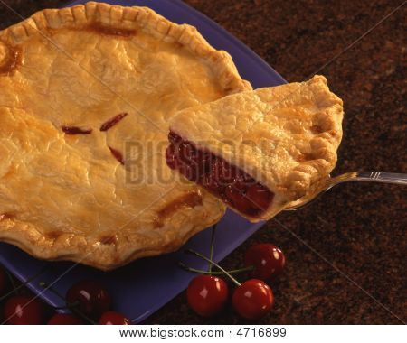 Cherry Pie On Blue Plate