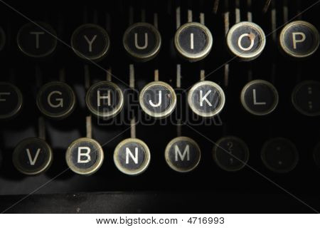 Keyboard Of Antique Typewriter