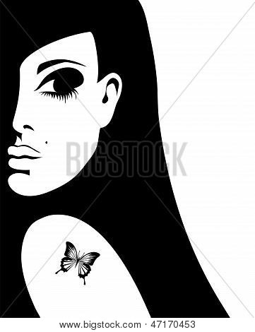 silhouette of a woman with a tattoo of a butterfly on her shoulder, vector illustration