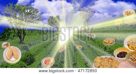 Green meadow with shining heart with food famous
