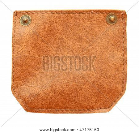 Brown Leather With Metal Button And Stitch