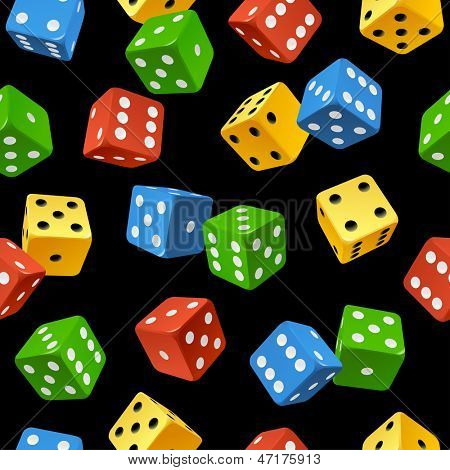 Vector varicoloured dice seamless pattern isolated on black background
