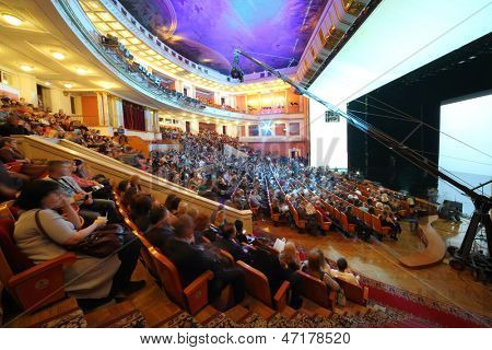 MOSCOW - NOV 21: The auditorium of the Central Academic Theatre of the Russian Army, on Nov 21, 2012 in Moscow, Russia. The theater has Europes largest stage area