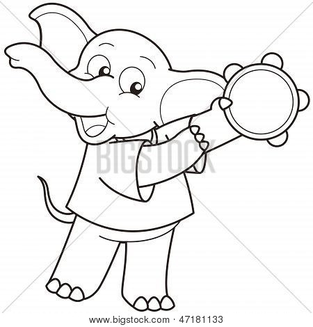 Cartoon Elephant Playing A Tambourine