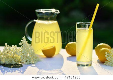 Elderflower Juice With Lemon On Table In A Garden