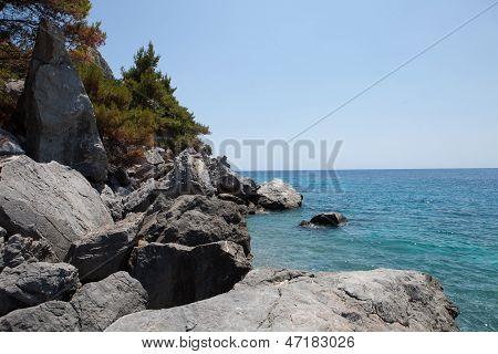 Rocks And Mediterranean Sea