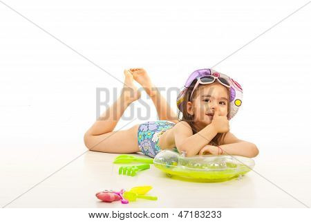 Little Girl In Swimsuit Give Thumb