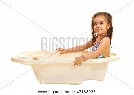 Preschooler Girl In Bath Tub