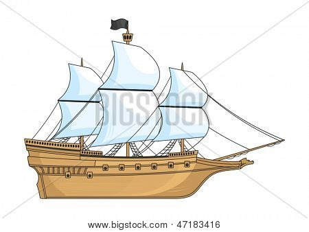 Historical ship isolated on white