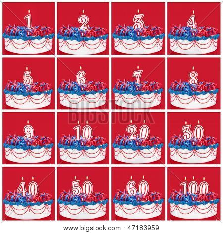 Number candles on vibrant frosted cake with ribbons.  Useful collection, with vibrant red background.