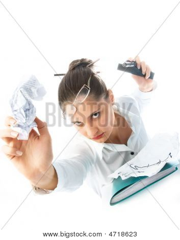 Angry Businesswoman Throwing Paper At Us