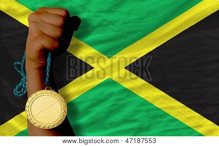 Gold Medal For Sport And  National Flag Of Jamaica