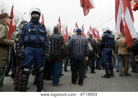 Riot Police In Crowd