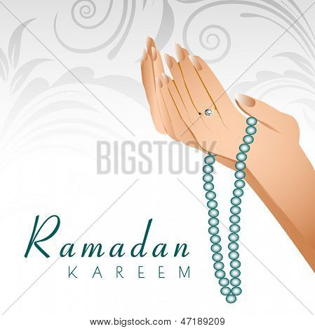 Ramadan Kareem background with female human hands holding rosary and praying(reading Namaz, Islamic Prayer) on floral decorated grey background.